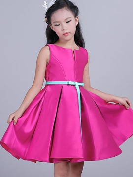 Ericdress Plain Pleated Sleeveless Bow Girls Dress