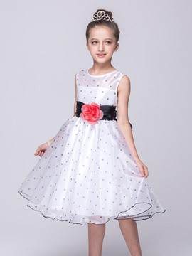 Ericdress Polka Dots Floral Sleeveless Girls Dress