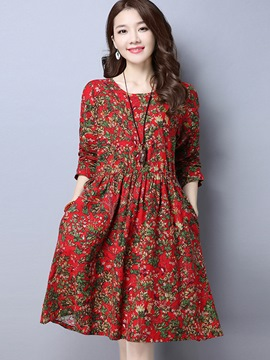 Ericdress Pastoral Round Collar Print Pocket Pleated Casual Dress