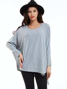 Plain Round Neck Asymmetric T-shirt