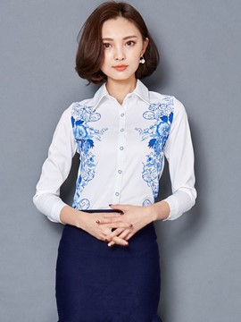 Ericdress Blue Floral Print Lapel White Blouse