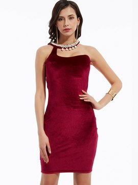 Ericdress Plain Beading Decorative Backless Bodycon Dress