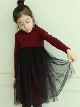 Ericdress Mesh Pleated Scoop Korean Dress