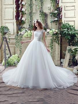 Ericdress Modest Scoop Beaded Lace Ball Gown Wedding Dress