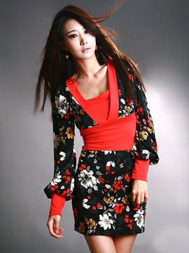 Color Block Flower Printed Bodycon Dress
