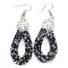 Ericdress Black Full Rhinestone Pendant Earrings
