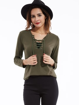 Ericdress Plain V-Neck Lace-Up T-shirt
