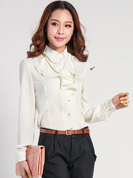 Ericdress Falbala Collar White Blouse