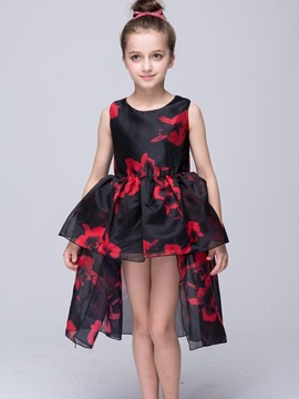 Ericdress Asymmetrical Print Sleeveless Girls Princess Dress