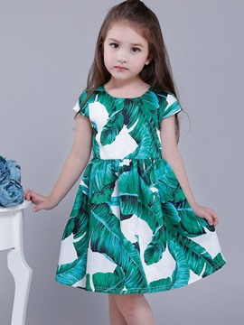 Ericdress Leaves Printed Sleeveless Girls Dress