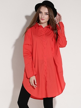 Ericdress Solid Color Boyfriend Blouse