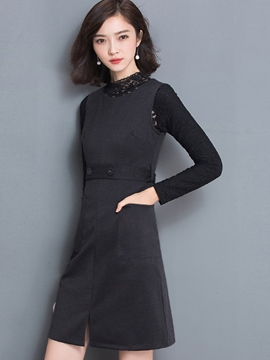 Ericdress Stand Collar Lace Hollow Suspenders Dress Suit