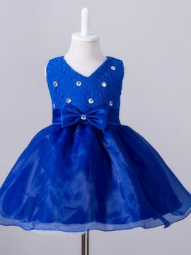 Ericdress Lace Diamond Bow Princess Girls Dress
