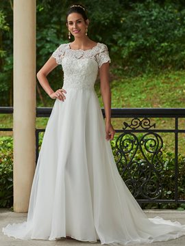 Ericdress Charming Appliques Beaded Scoop A Line Wedding Dress