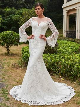 Ericdress Amazing Illusion Neckline Long Sleeves Mermaid Lace Wedding Dress
