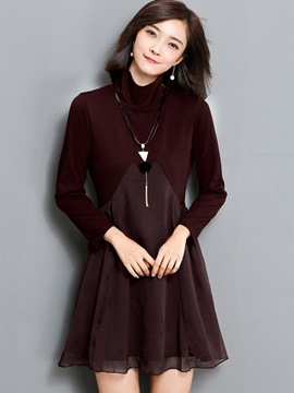 Ericdress Turtleneck Mesh Patchwork Plain Above Knee Casual Dress
