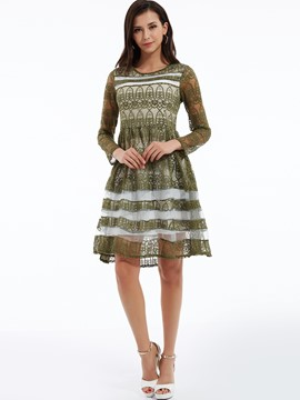Color Block Round Neck Lace Dress
