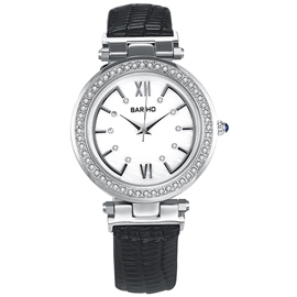 Ericdress Round Diamante Dial Black Band Women's Watch
