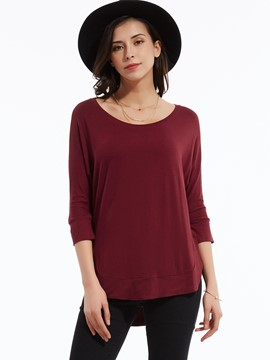 Ericdress Loose Plain Round Neck T-shirt