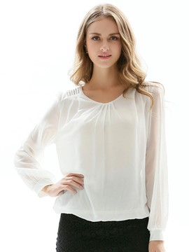 Ericdress Solid Color Pleated Long Sleeve Blouse