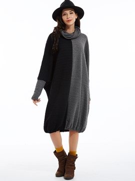 Ericdress Color Block Turtleneck Lantern Casual Dress