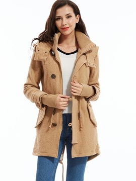 Ericdress Plain Drawstring Waist Hooded Coat
