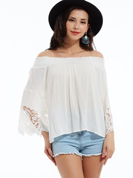 Ericdress Slash Neck Flare Sleeves Lace Patchwork Blouse