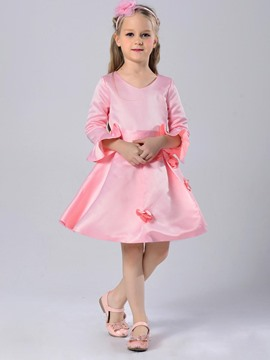 Ericdress Solid Color Flower Flare Sleeve Girls Princesss Dress
