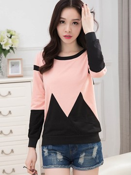 Ericdress Color Block Casual Long Sleeve T-Shirt
