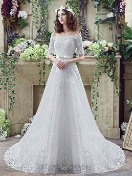 Ericdress Off The Shoulder Appliques Half Sleeves A Line Wedding Dress