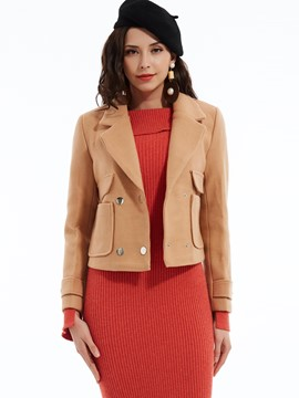 Ericdress Plain Notched Lapel Pocket Double-Breasted Coat