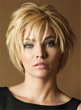 Short Layered Hairstyle Human Hair Lace Front Women Wigs 10 Inches