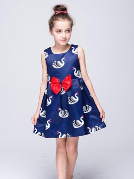 Ericdress Printed Bow Sleeveless Girls Dress