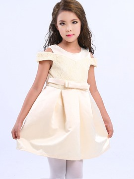 Ericdress Lace Patchwork Sleeveless Princess Girls Dress