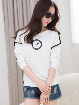 Ericdress Color Block Round Neck Hoodie