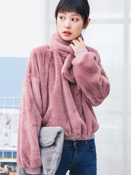 Ericdress Loose Solid Color Fleece Casual Hoodie