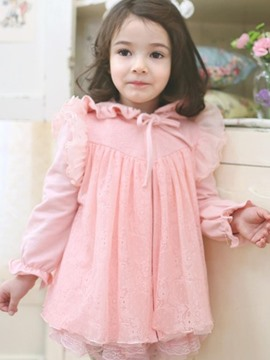Ericdress Lace Falbala Hooded Girls Jacket