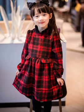 Ericdress Plaid Stand Collar Long Sleeve Girls Dress