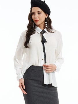 Ericdress Slim Lapel Single-Breasted Blouse
