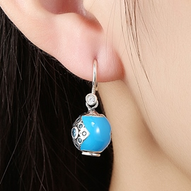 Ericdress 925 Sterling Silver Blue Pendant Earrings