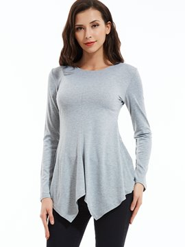Ericdress Plain Slim Round Neck Asymmetric T-shirt