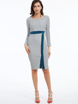 Ericdress Simple Houndstooth Fabric Patchwork Split Sheath Dress