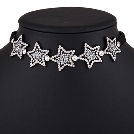 Ericdress Stars with Rhinestone Design Velvet Choker Necklace
