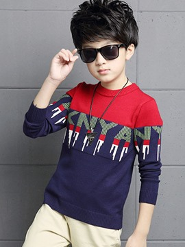 Ericdress Letter Pattern Color Block Boys Sweater