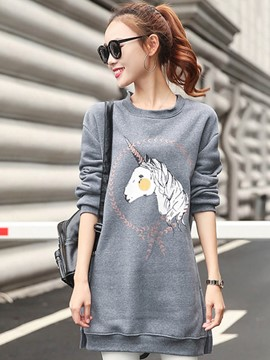 Ericdress Loose Round Neck Animal Printed Hoodie