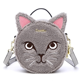 Ericdress Funny Cat Embroidery Fuzzy Crossbody Bag