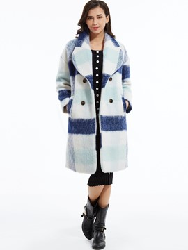 Ericdress Color Block Wide-Lapel Double-Breasted Plaid Coat
