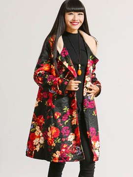 Ericdress Loose Floral Printed Casual Coat