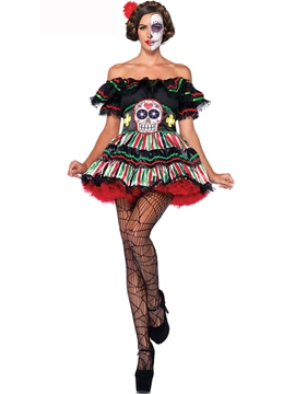 Ericdress Color Block Strapless Stripe Skull Costume