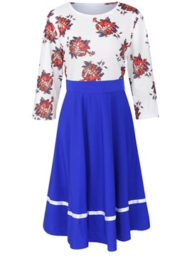 Ericdress Floral Print Round Collar Patchwork Pleated Casual Dress